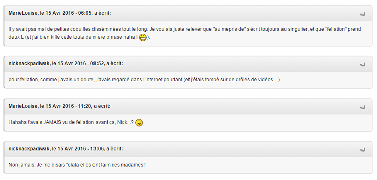 Conversation Nick/ML sur topic relecture