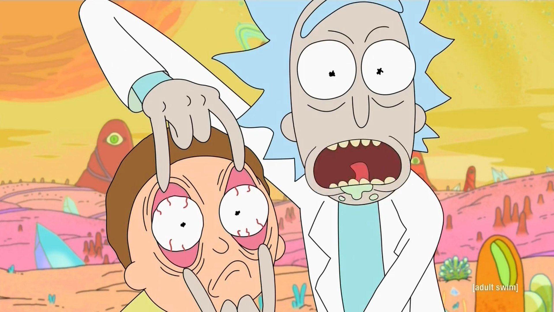Rick forçant Morty à regarder.