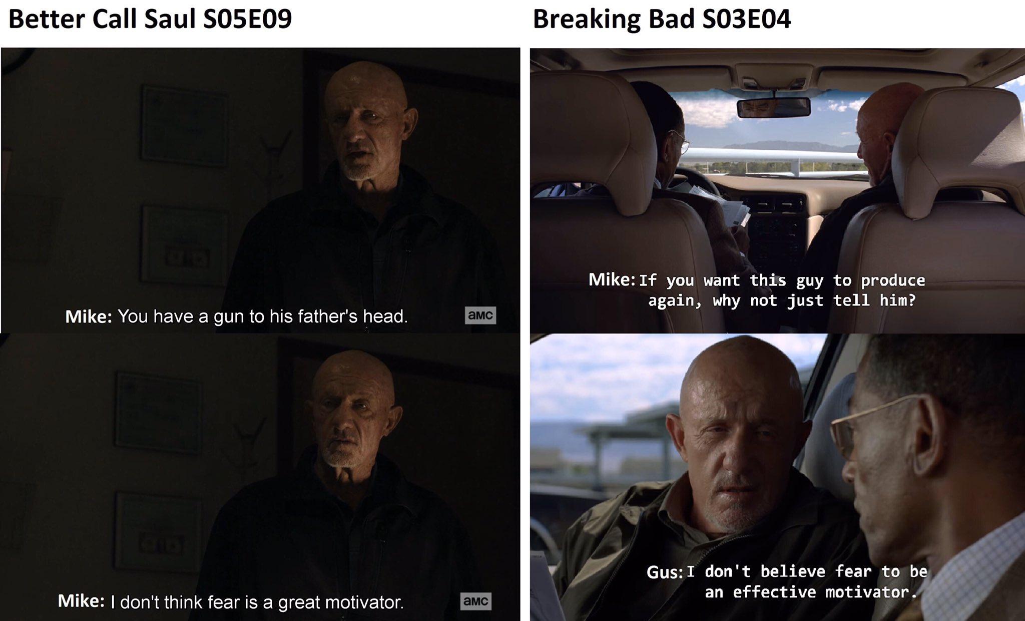 Parallèle Better Call Saul / Breaking Bad sur l'intérêt de faire peur à quelqu'un que l'on veut maîtriser