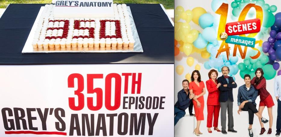 Image du gâteau du 350ème épisode de Grey's Anatomy et d'une partie du casting de Scènes de Ménages pour les 10 ans de la série.