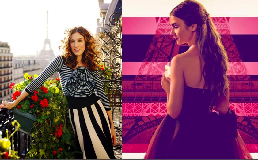 A gauche, Carrie à Paris avec la Tour Eiffel en arrière-plan. A droite, Emilie devant la Tour Eiffel sur une affiche où elle est colorée dans des tons roses/violets..