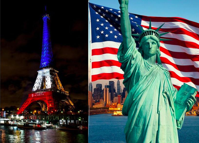 La Tour Eiffel à gauche, la Statue de la Liberté à droite