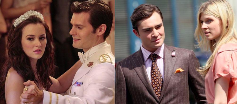À gauche le couple Blair/Louis et à droite le couple Chuck/Eva.
