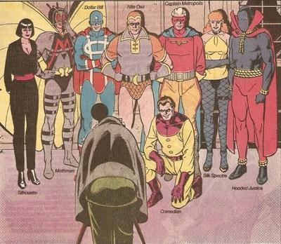 Prise de la photo des Minutemen dans le comics Watchmen